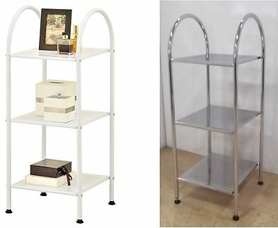 Bathroom Kitchen 3 Tier Metal Storage Side Unit Caddy Storage Shelf Home Office