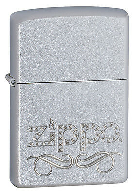 Zippo Windproof Satin Lighter With Zippo Scroll Logo, 24335, New In Box