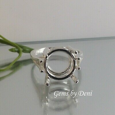 (9-15mm) Round Ladies Wire Mount Sterling Silver RESIZED Ring Setting (Size 4-9)