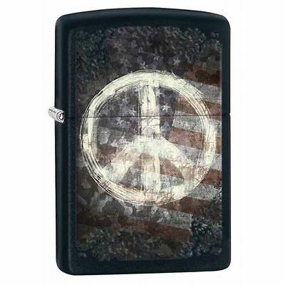 Zippo Windproof Lighter With Peace Sign On American Flag, 28864, New In Box