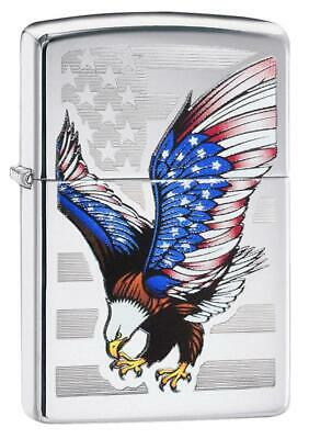 Zippo Windproof Lighter With Bale Eagle And American Flag, 28449, New In Box