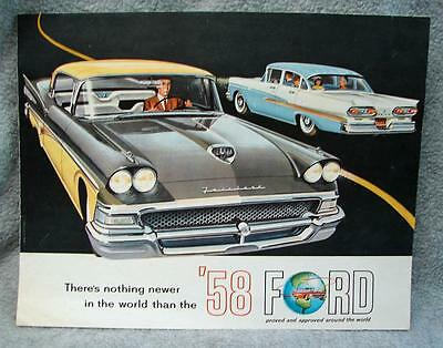 1958 Ford Original Fold-Out Sales Brochure Catalog