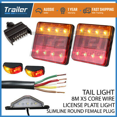 Led Trailer Lights, 1 Plug, 1Number Plate Light, 8M 5Core Wire 2 Side Markers