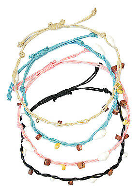 SET X 4 assorted colour beaded string anklets