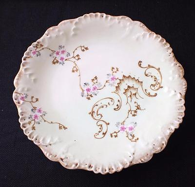 """Antique Signed AKCD LIMOGES France Hand Painted Pink FLOWERS 8 1/2"""" Salad Plate"""