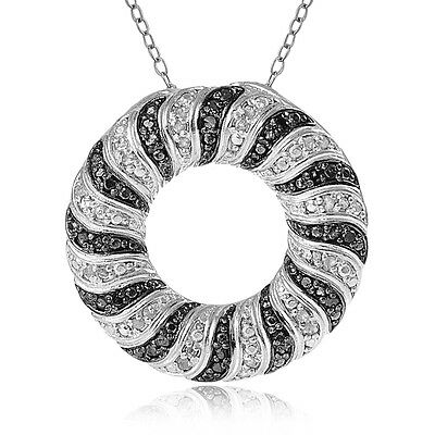 0.50ct TDW Black & White Diamond Wave Eternity Necklace