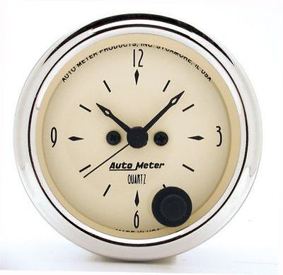 "Autometer Antique Beige Clock Au1885, 2-1/16"" Electric Quartz Movement"