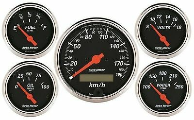 Autometer Designer Black 5 Gauge Kit Speedo, Fuel, Water Temp, Oil,volts Au1421M