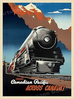 Canadian Pacific Across Canada 1940's Vintage Style Travel Poster - 20x28