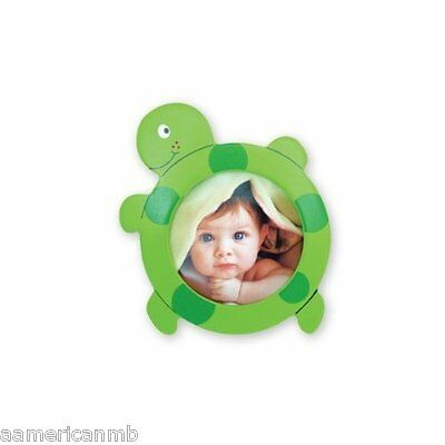 Baby Kids Photo Frame Wooden 4x4.5 Green Sea Turtle Ocean Life Table Top Picture