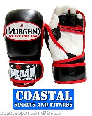 Morgan Platinum Shuto MMA Leather Sparring Gloves KICK Boxing Punch Fight UFC