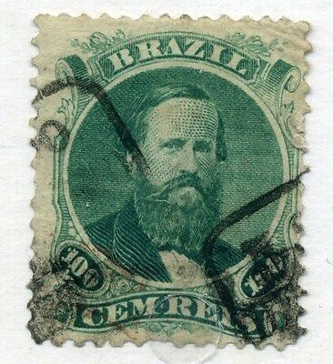 BRAZIL;  1860s early classic Dom Pedro issue fine used 100r. value