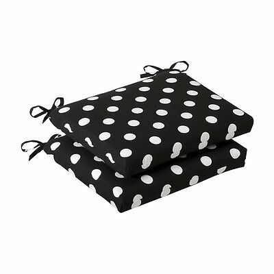 Pillow Perfect 384986 Outdoor Polka Dot Squared Seat Cushion (Set of 2)