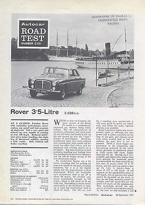 Rover 3.5 Litre Saloon P5 Road Test from Autocar 1967