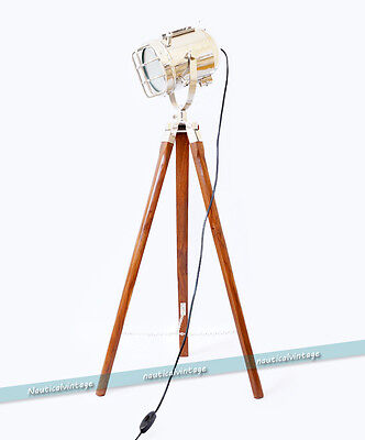 Hollywood Marine Nautical Theater Spot Searchlight Floor Lamp - Wooden Tripod