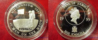 1999 Zambia Large Proof Silver 1000 Kw-Space-First Man Moon Walk-Millenium