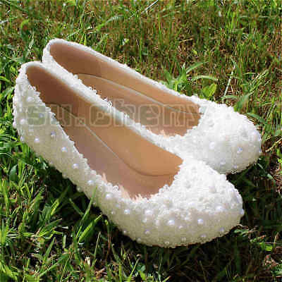 su.cheny White pearls flats flower low heels pumps lace Wedding Bridal shoes