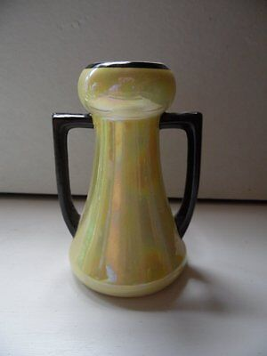 "Art Deco Czechoslovakia Pottery Yellow Lusterware Double Handle Vase 5 1/2"" Tall"