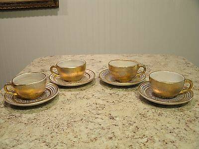 Rare HTF Set of 4 STANGL Pottery 22kt Antique Gold Tea Cups and Saucers