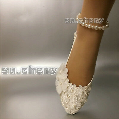 su.cheny Lace pearls white ivory flats low high heels pump Wedding Bridal shoes