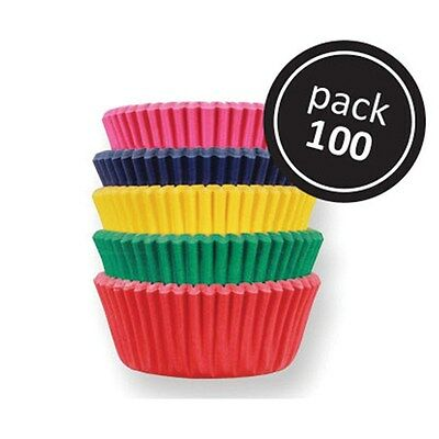 100  mini cupcake cases baking muffin cake petits fours 5 pastel colours