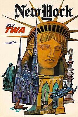 """1960s """"New York - Fly TWA"""" Vintage Style Air Travel Poster - 20x30"""