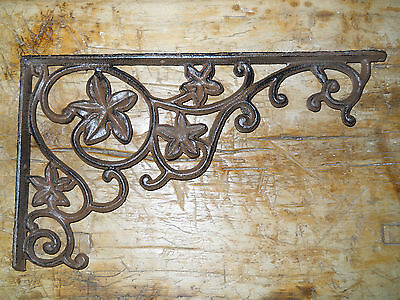 4 Cast Iron Antique Style Flower & Vines Brackets, Garden Braces Shelf Bracket