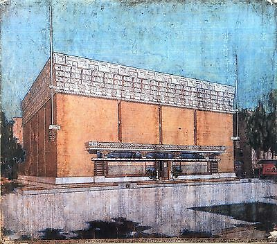 Frank Lloyd Wright Lithograph Drawing XXL German Warehouse Richland Center 1915