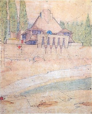 Frank Lloyd Wright Lithograph 38x52 Project Cabin Lake Tahoe Summer Resort 1922