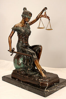 "Sitting Lady Justice Bronze Metal Art 16"" Lawyer Scales Signed ""Steiner"""