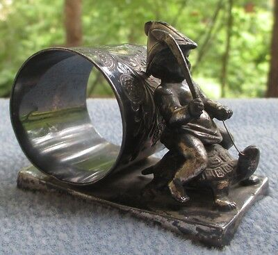 Rare Antiq Middletown Plate Silverplate Napkin Band Ring Elf Boy Riding Turtle