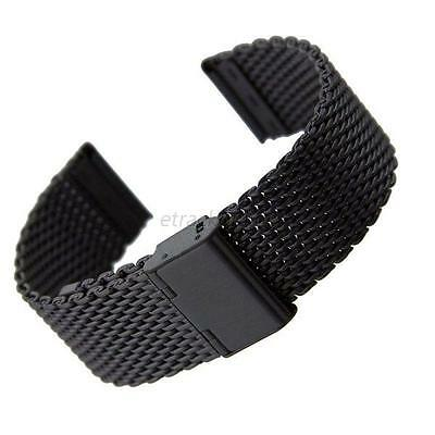Black Stainless Steel Bracelet Strap Watch Mesh Replacement Band 18 20 22 24 mm
