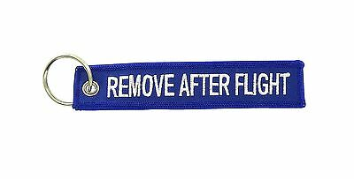 Remove after flight blue keychain key ring tag luggage before aviation