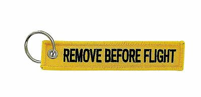 Remove before flight yellow keychain key ring tag luggage aircraft aviation