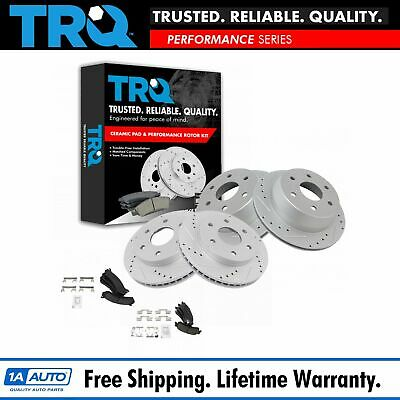 Nakamoto Front /& Rear Ceramic Brake Pad Performance Cross Drilled Slotted Rotor