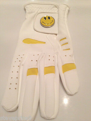 New Ladies Golf Glove. Size Small. Yellow Smiley  Ball Marker.
