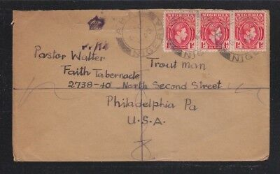 NIGERIA 1940s THREE CENSORED COVERS ABA (?)  & UMUAHIA TO PHILADELPHIA USA