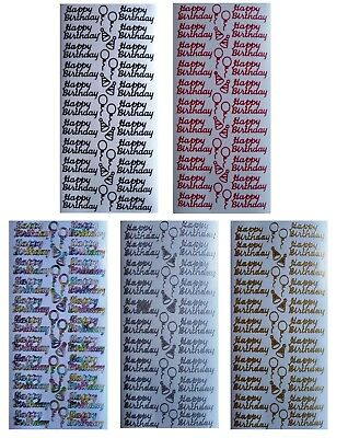 HAPPY BIRTHDAY Peel Off Stickers Balloons Party Hats Gold Silver Red Multi