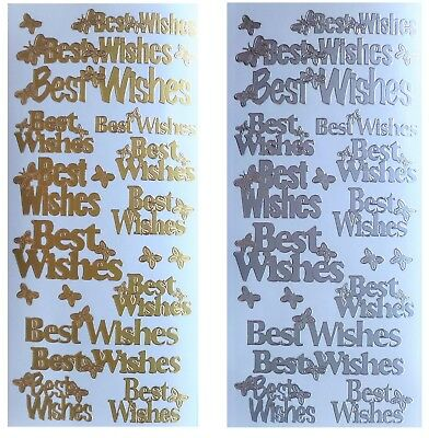 BEST WISHES Peel off Stickers Butterflies Birthday Card Making Gold or Silver