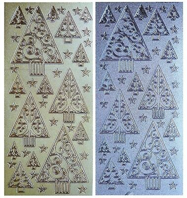 SPARKLE TREES & STARS Peel Off Stickers Christmas Card Making Silver or Gold