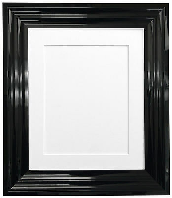 Firenza Gloss Black Picture Photo Frames & Acid Free Mounts in 7 colours