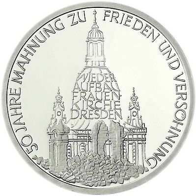 Germany 10 DM Silver 1995 BU Woman Church Dresden - Coin in Capsule