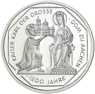 Germany 10 DM Silver 2000 BU Charlemagne and the Aachen Cathedral in Capsule