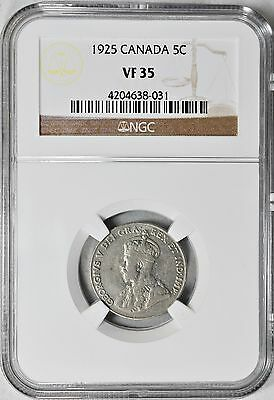 1925 5 Cents Canada NGC VF-35 Very Fine Five Cents