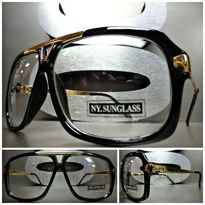 NEW CLASSIC VINTAGE RETRO Style Clear Lens EYE GLASSES Black &Gold Fashion Frame