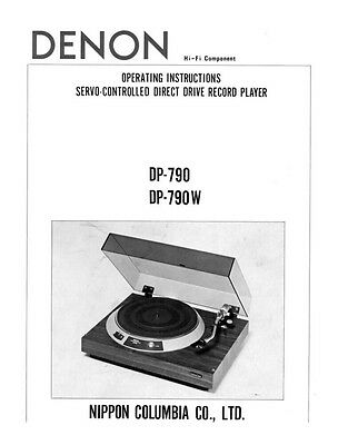 Denon DP-790 Turntable Owners Manual