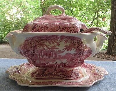 """Great Masons Ironstone Soup Tureen with Underplate and Lid & Ladle """"Vista-Pink"""""""