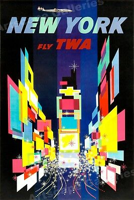 1960s New York Times Square TWA Vintage Style Travel Poster - 20x30