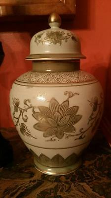 Antique VTG Andrea by Sadek Floral Vase with Lid Ginger Jar Urn Kutani #7948