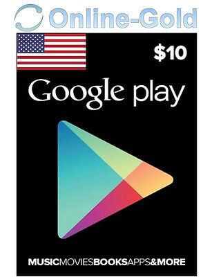 $10 USD Google Play Gift Card - 10 US Dollars USA Android Store Prepaid Code US